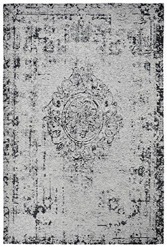 Moderner Teppich Vintage my Milano 572 grau, rot, gelb, shabby look,used look , flachgewebe (155 x 230 cm, MIL 572 silber grau)