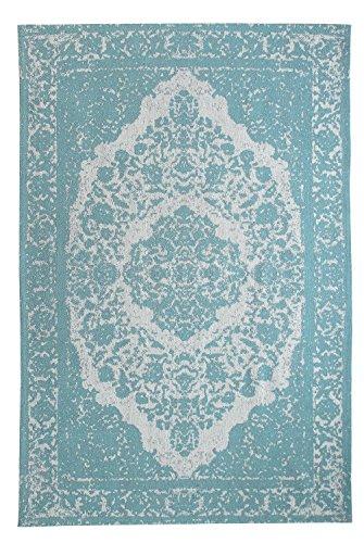 Morgenland Vintage Teppich MILANO 140 x 70 cm Blau Einfarbig Designer Moderner Teppich Klassisch Jacquard Kurzflor Shabby Chic Used Look Medaillon Orient Teppich Handgearbeitet 100% Schurwolle Wohnzimmer Flur Kinderteppich - In 7 versch. Farben, Viele Größen