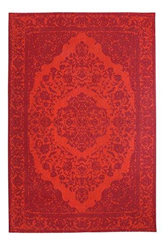 Morgenland Vintage Teppich MILANO 140 x 70 cm Rot Einfarbig Designer Moderner Teppich Klassisch Jacquard Kurzflor Shabby Chic Used Look Medaillon Orient Teppich Handgearbeitet 100% Schurwolle Wohnzimmer Flur Kinderteppich - In 7 versch. Farben, Viele Größen