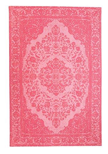 Morgenland Vintage Teppich MILANO 200 x 140 cm Rosa Einfarbig Designer Moderner Teppich Klassisch Jacquard Kurzflor Shabby Chic Used Look Medaillon Orient Teppich Handgearbeitet 100% Schurwolle Wohnzimmer Flur Kinderteppich - In 7 versch. Farben, Viele Größen