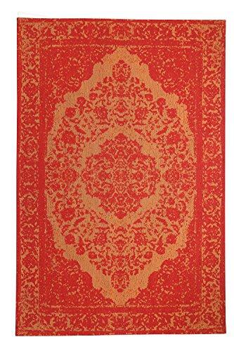 Morgenland Vintage Teppich MILANO 240 x 170 cm Orange Einfarbig Designer Moderner Teppich Klassisch Jacquard Kurzflor Shabby Chic Used Look Medaillon Orient Teppich Handgearbeitet 100% Schurwolle Wohnzimmer Flur Kinderteppich - In 7 versch. Farben, Viele Größen