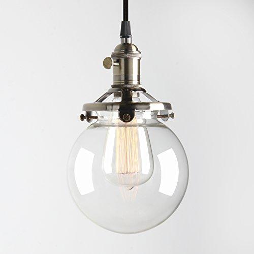 Pathson Antik Deko Design Klar Glas innen Pendelleuchte Hängeleuchte Vintage Industrie Loft-Pendelleuchte Hängelampen Hängeleuchte Pendelleuchten (Bronze Farbe)