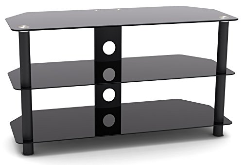 "RICOO Fernsehtisch FT501M Universal LCD TV Stand Tisch Regal Rack Curved QLED QE 4K LED OLED Fernsehschrank Podest Sockel Lowboard Kommode Möbel/Zoll 29""/74cm - 55""/140cm/Glas Schwarz"