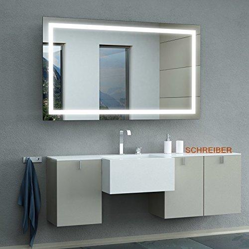 Schreiber Design LED Badspiegel mit Lichtstarke LEDplus FlächenLED Comfort 130 cm Breit x 80 cm Hoch Licht umlaufend   durchgehendes Lichtfeld
