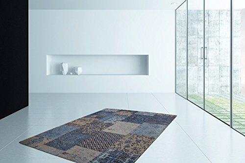 TEPPICH RETRO PATCHWORK LOOK TEPPICHE JACQUARD KASTEN DESIGN BLAU, Größe:160cm x 230cm