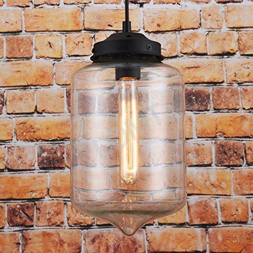 Vintage Deckenlampe Pendelleuchte Wassertropfenform: Moderne Deckenleuchte Starkes Transparentes Glas / Metall, Neue Edition, CE-zertifiziert. D: 18 cm, H: 29 cm. Perfekte Innendekoration