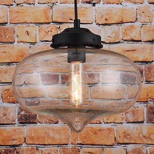 Vintage Deckenlampe Pendelleuchte Wassertropfenform: Moderne Deckenleuchte Transparentes Glas / Metall, Neue Edition, CE-zertifiziert. D: 27 cm, H: 22 cm. Die Perfekte Innendekoration