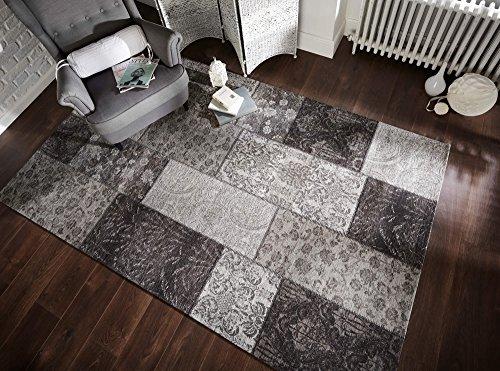 eRugs Traditionelle Manhattan Patchwork-Muster Jacquard, mit Chenille Teppich, Schwarz/Grau, 120x 170cm
