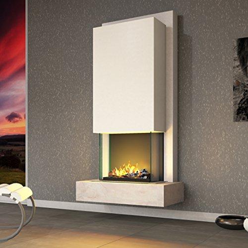 muenkel design Arco Elektrokamin Opti-myst heat: Blanco (Schiefer beige) - Haube Reinweiß - Ohne Heizung