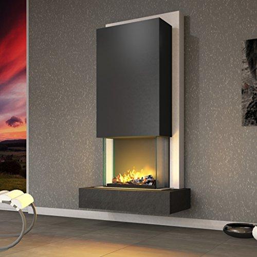 muenkel design Arco Elektrokamin Opti-myst heat: Negro (Schiefer schwarz) - Haube Reinweiß - Mit Heizung