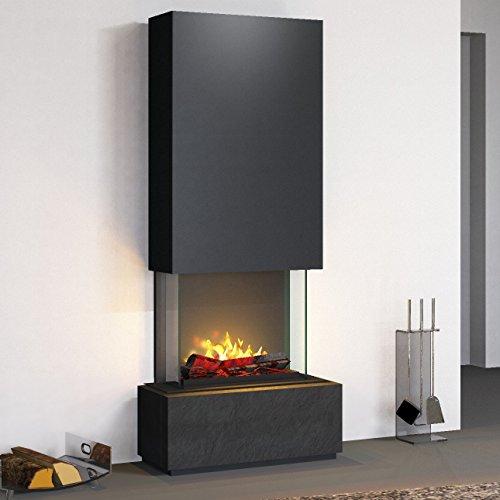 muenkel design Prato Elektrokamin Opti-myst heat: Negro (Schiefer schwarz) - Haube Reinweiß - Mit Heizung - 90 cm