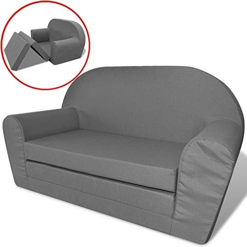 vidaxl kindersofa mit bettfunktion sessel schlafsofa lounge kinderzimmer grau m bel24. Black Bedroom Furniture Sets. Home Design Ideas