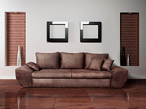 Big Sofa, braun, mit Schlaffunktion, Bettkasten, Vintage Look, Microfaser   XXL Couch   Großes Relexsofa   Megasofa