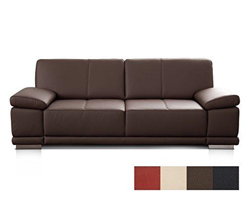 CAVADORE 3053 3-Sitzer Ledersofa Corianne/Couch in hochwertigem Echtleder im modernen Design/Mit Armteilverstellung/Größe: 217 x 80 x 99 (BxHxT) / Bezug: Echtleder dunkelbraun (mocca)