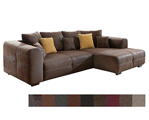 CAVADORE Ecksofa Mavericco/Polster Eck-Couch mit Kissen/In Antik-Leder-Optik mit nussbaumfarbenen Holzfüßen / 285x69x170 (BxHxT) / Braun