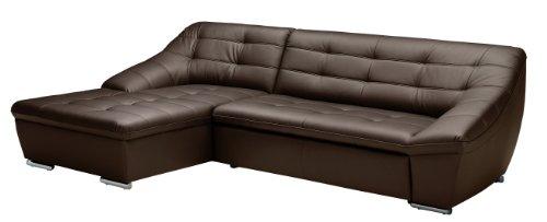 CAVADORE Leder-Sofa Lucas/L-Sofa mit Schlaffunktion in Echtleder mit Steppung/Longchair links/Inkl. Bettfunktion und Bettkasten/Größe: 287 x 81 x 165 (BxHxT) / Leder braun