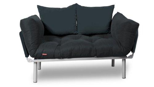 EasySitz Schlafsofa Schlafsofa Für Ein Zum Einer Sofa in Unter Schlafsessel '' Er Mein Futon 2 Sitzer Kissen Futonsofa 140 x 210 Schlaffunktion (Dunker Grau & Dunkel Grau)