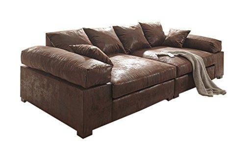 Euro Tische Polstergarnitur Big Sofa mit Modernem Style in Vintage Braun 266cm mit Liegefläche