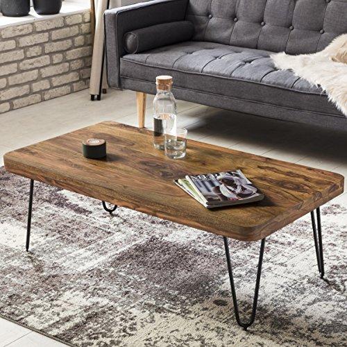 finebuy couchtisch massiv holz sheesham 115 cm breit wohnzimmer tisch design metallbeine. Black Bedroom Furniture Sets. Home Design Ideas