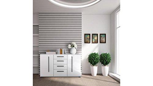JUSTyou Artana Kommode Sideboard Schrank (HxBxT): 86x150x42 cm Weiß Matt | Weiß Hochglanz
