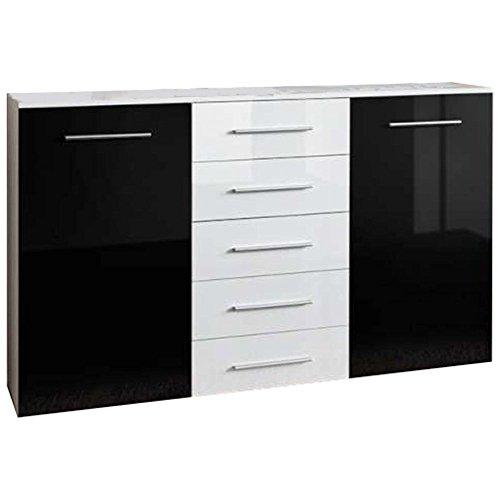JUSTyou Fix Kommode Sideboard Wohnzimmerschrank (HxBxT): 102x150x40 cm Weiß Matt/Schwarz Weiß Hochglanz