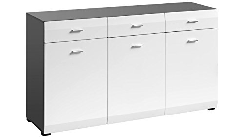 JUSTyou Mosel Kommode Sideboard Schrank (HxBxT): 86x150x47 cm Graphit Matt | Weiß Matt
