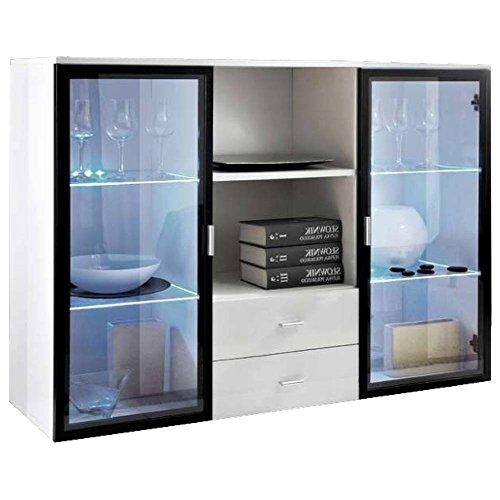 JUSTyou Quadro Iceland Kommode Sideboard Wohnzimmerschrank (HxBxT): 90x120x40 cm Weiß Matt/Weiß Hochglanz