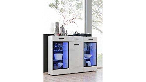 JUSTyou Spree Kommode Sideboard Schrank (HxBxT): 112x150x41 cm Weiß Matt | Weiß Hochglanz