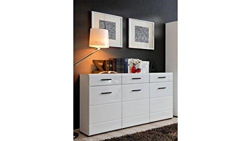 JUSTyou Spree Kommode Sideboard Schrank (HxBxT): 86x150x43 cm Weiß Matt Weiß Hochglanz