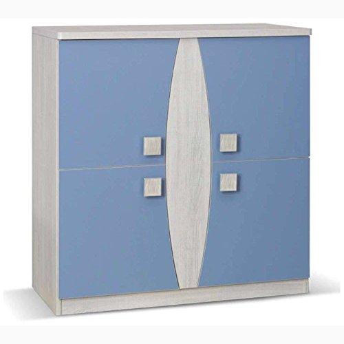 JUSTyou Tenus TN VI Kommode Sideboard Wohnzimmerschrank Blau (HxBxT): 93x90x40 cm