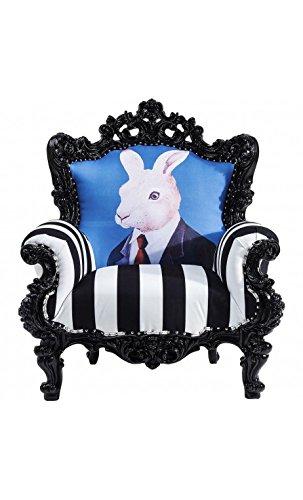 Kare Design–Sessel Barock Hase schwarz und weiß MR Rabbit