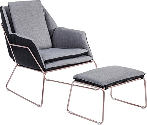 Kare Sessel mit Hocker Space, Polyester, Grau, 77 x 76 x 70 cm