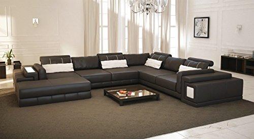 Leder Wohnlandschaft XXL braun / weiß Ledersofa Couch U-Form Designsofa Ecksofa mit LED-Licht Beleuchtung HANNOVER
