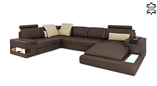 Ledersofa braun XXL Wohnlandschaft Leder Couch Sofa U-Form Ecksofa Ledercouch Eckcouch mit LED-Licht Beleuchtung Designsofa HAMBURG