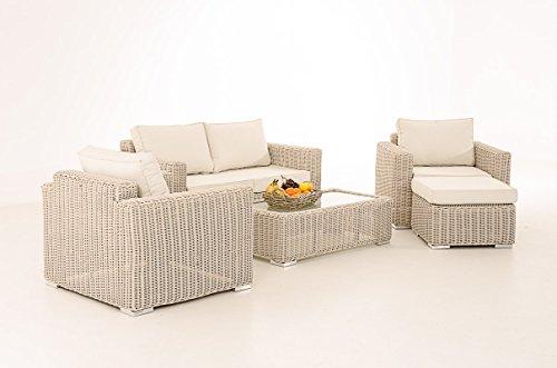 Mendler 2-1-1 Gartengarnitur CP050 Sitzgruppe Lounge-Garnitur Poly-Rattan ~ Kissen cremeweiß, perlweiß
