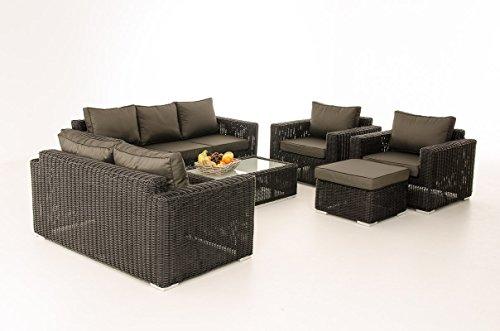 Mendler 3-2-1-1 Sofa-Garnitur CP050 Lounge-Set Gartengarnitur Poly-Rattan ~ Kissen Anthrazit, Schwarz