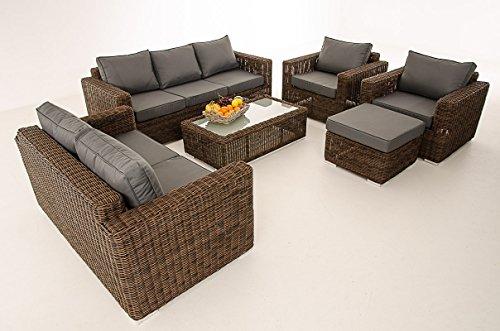 Mendler 3-2-1-1 Sofa-Garnitur CP050 Lounge-Set Gartengarnitur Poly-Rattan ~ Kissen eisengrau, Braun-Meliert