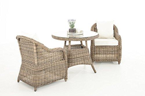 Mendler Garten-Garnitur CP063, Sitzgruppe Lounge-Garnitur, Poly-Rattan ~ Kissen Creme, Natur