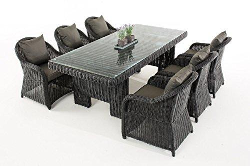 Mendler Garten-Garnitur CP065, Sitzgruppe Lounge-Garnitur, Poly-Rattan ~ Kissen Anthrazit, Schwarz