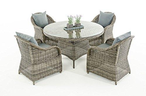 Mendler Garten-Garnitur CP070, Sitzgruppe Lounge-Garnitur Poly-Rattan ~ Kissen eisengrau, Grau-Meliert