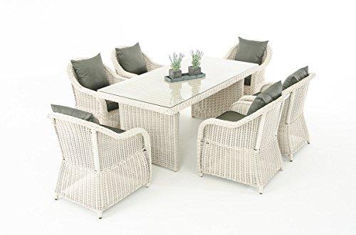 Mendler Garten-Garnitur CP071, Sitzgruppe Lounge-Garnitur Poly-Rattan ~ Kissen Anthrazit, perlweiß