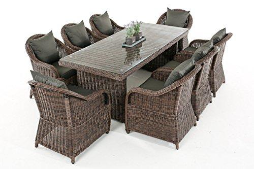 Mendler Garten-Garnitur CP071 XL, Sitzgruppe Lounge-Garnitur Poly-Rattan ~ Kissen Anthrazit, Braun-Meliert