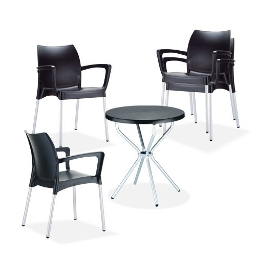 Mendler Garten-Garnitur CP434, Outdoor-Sitzgruppe Bistro-Garnitur, Kunststoff ~ Schwarz