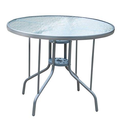 Mendler Gartentisch LD26, Glastisch Bistrotisch Beistelltisch, mit Schirmhalterung, Ø=90cm