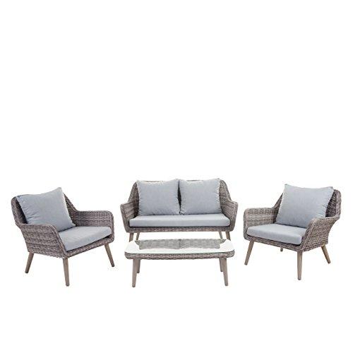 Mendler Luxus Poly-Rattan-Garnitur Bilbao, Premium Lounge-Set Gartengarnitur, Alu-Gestell