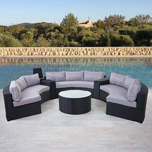 Mendler Luxus Poly-Rattan-Garnitur Savoie, Sitzgruppe Lounge-Set, XXL Rund, Anthrazit Kissen Grau