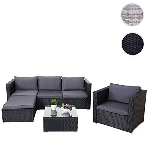 Mendler Poly-Rattan-Garnitur Brescia, Gartengarnitur Sitzgruppe Lounge-Set ~ Schwarz, Kissen Anthrazit