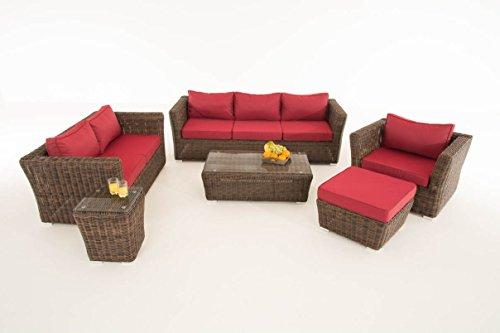 Mendler Poly-Rattan Gartengarnitur Sousse, Sofa-Garnitur Lounge-Set ~ Braun-Meliert, Polsterung Rubinrot