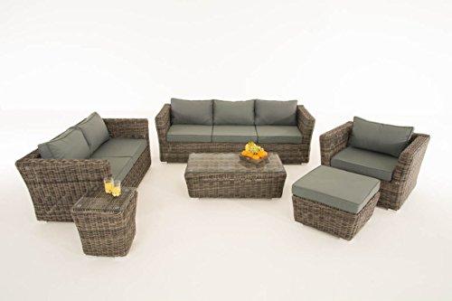 Mendler Poly-Rattan Gartengarnitur Sousse, Sofa-Garnitur Lounge-Set ~ Grau-Meliert, Polsterung eisengrau