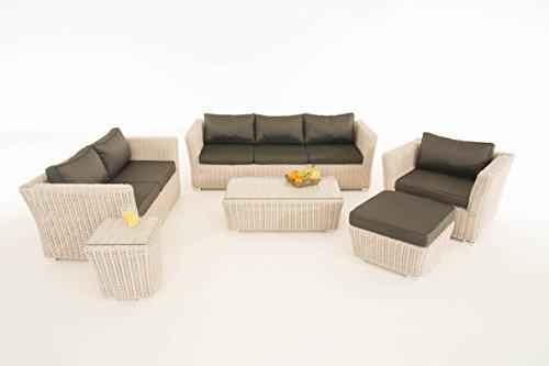 Mendler Poly-Rattan Gartengarnitur Sousse, Sofa-Garnitur Lounge-Set ~ perlweiß, Polsterung Anthrazit